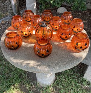 Halloween Glass Pumpkins 🎃 selling them with New! Battery Candles 🕯 each of them has one, Look 👀 pictures for details, All of them for $65.00 for Sale in Azusa, CA