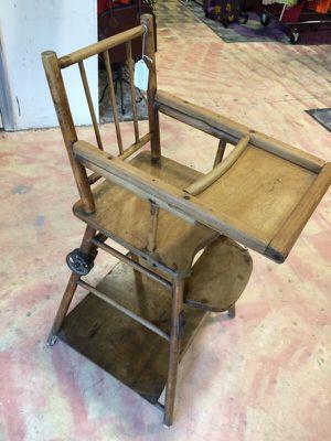 Antique Wooden High Chair/Stroller for Sale in Alpharetta, GA