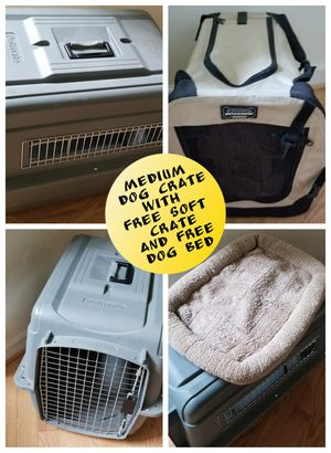 Medium dog crate with Free Bed and Soft Crate Excellent Condition for Sale in Hillsborough, NC