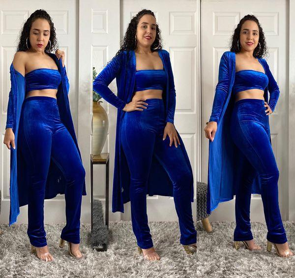 Royal Blue Velvet 3 Piece Outfit Set Available In Royal Blue 3 Piece Outfit Set High Waisted Pants Sleeveless Bandeau Top Long Open Front Cardigan L