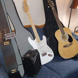 2 Amazing Guitars! 1 Electric 1 Acoustic! Both With Carry Cases And Also 1 Amplifyer! for Sale in Aurora, CO
