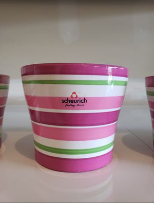 Scheurich Pots/Planters | Pink & Green Striped | Set of 5 for Sale in Renton, WA