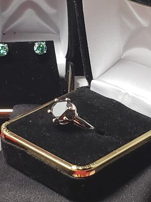 3.52 ct black mossianite diamond engagement set in solid silver.. sz 7.. great condition!! for Sale in Meriden, CT