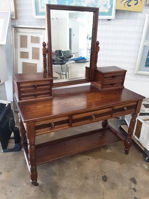 Antique solid oak vanity desk on wheels for Sale in Newport Beach, CA