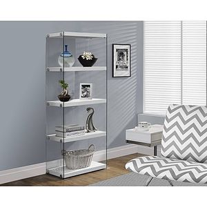 "Monarch Bookcase 60""H / Glossy White With Tempered Glass for Sale in Bristol, CT"