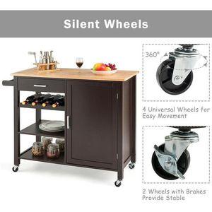 Giantex Kitchen Island Cart Rolling Serving Cart Wood Trolley-Brown HW61706BN for Sale in Corona, CA