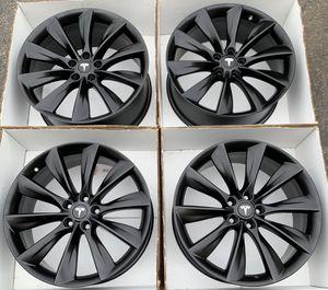 """21"""" Tesla model s turbine factory wheels rims satin black new for Sale in Tustin, CA"""