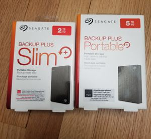 Brand New 2TB and 5 TB Seagate external portable drives for Sale in West Hartford, CT