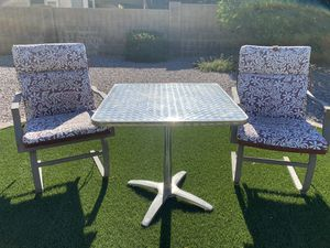 2 Patio chairs with reversible cushions and 1 table, $150 OBO for Sale in Gilbert, AZ
