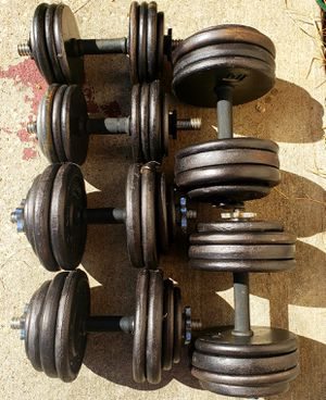 THREE PAIRS 35LBS, 55LBS, 70LBS ADJUSTABLE DUMBBELLS (320 POUNDS TOTAL) for Sale in Fort Worth, TX
