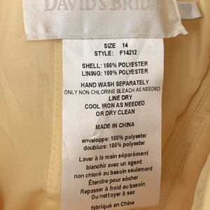 Davids Bridal - Canary Yellow Satin Bridesmaids Dress for Sale in Concord, CA