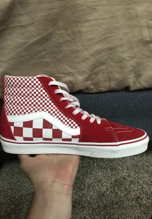 Red high top checkered vans size size 10.5 fits 11 for Sale in Riverview, MI