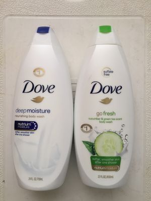 Dove deep moisture body wash 24 Fl oz and Dove go fresh body wash 22 Fl oz, totally $12 for Sale in Pico Rivera, CA