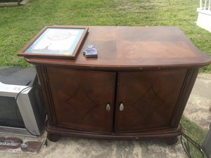 "Solid wood tv stand $60 with free tv doddridge area cc Tx 42"" long, 28"" tall, 22"" wide inside two drawers and 2 shelves for Sale in CORP CHRISTI, TX"