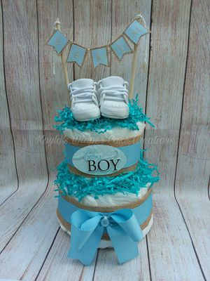Baby boy rustic diaper cake, simple baby gift, newborn baby gift baby shower gift, hospital gift for Sale in Lake Placid, FL