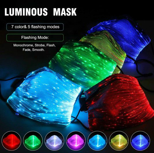 New LED Face Mask With Filter Pocket