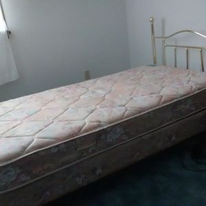 Bed. Complete Twin Size Bed With Brass Headboard for Sale in Uniontown, PA
