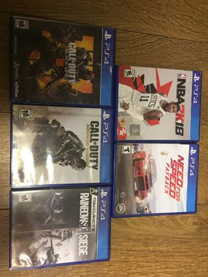Selling 5 games for PS4 separate for Sale in St. Louis, MO