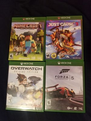 Forza motorsport 5, overwatch, minecraft xbox 1 edition, just cause 3 for Sale in Hesperia, CA