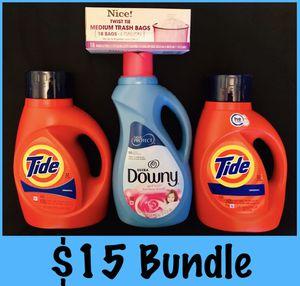 Tide detergent downy trash bags $15 bundle for Sale in Los Angeles, CA