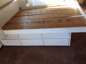 12 drawer queen size oyster bed frame, wardrobes coffee tables shelves etc. for Sale in Fairfax, CA