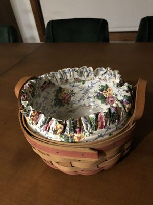 Longaberger 1995 Mother's Day Basket of Love 18805 with liner protector for Sale in Sylmar, CA