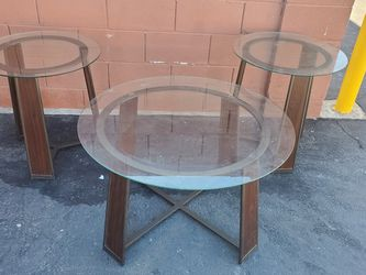 Glass top coffee table & pair side tables for Sale in Las Vegas,  NV