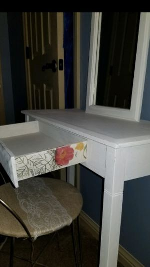 Refurbished antique Mirrored vanity and bench for Sale in Wildwood, MO
