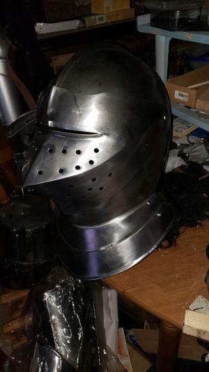Medieval SCA ACL armored combat league Helmet clos