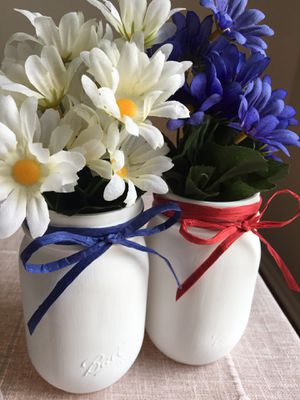 Two chalk painted mason jars with silk flowers for Sale in Plainfield, IL