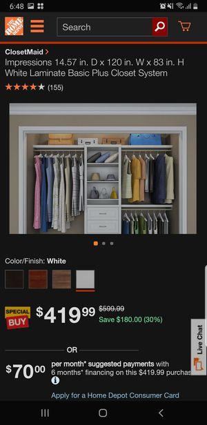 ClosetMaid adjustable 4'-6' closet organizer system for Sale in Stockton, CA
