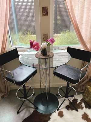 Glass top bar table and 2x director style bar stools for Sale in Portland, OR