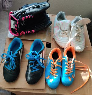 Kids cleats and glove for Sale in Fort Lewis, WA