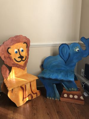 Toddler / Kids Lion & Elephant Wooden Chairs /Seats for Sale in Rye Brook, NY