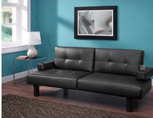 Leather futon couch to bed with cup holders for Sale in Oak Lawn, IL