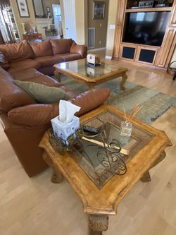 Wooden Detailed Side Table (matching Coffee Table) With Glass Top for Sale in Calabasas,  CA