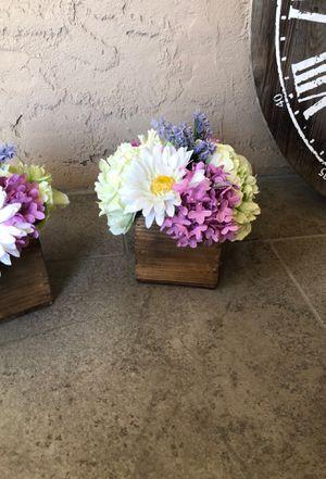 2 artificial flower arrangements in square wooden vase for Sale in Fresno, CA