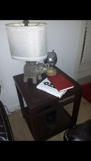 Dark brown metal end table + lamp for Sale in Austin, TX