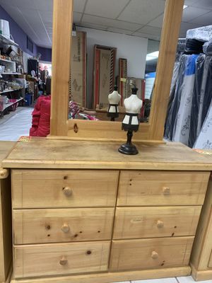 All wood and thick dresser with mirror for Sale in Tulare, CA