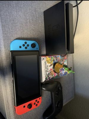 Nintendo Switch 64GB + Pro Controller + Smash Bros Ultimate + Link Amiibo + Case for Sale in San Diego, CA