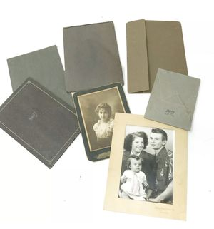 Vintage Antique Lot 7 Photographs Cabinet / Cardboard Folder Kids Couple College for Sale in Kingman, AZ