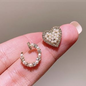 Pearl Diamond Heart With Open Ring Stud Earrings for Sale in Yorba Linda, CA