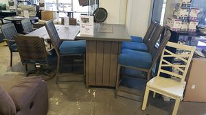 Brand New Patio Furniture HIGH Dining table set counter height firepit with 4 bar stools tax included and free delivery for Sale in Hayward, CA