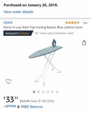 Homz 4-Leg Steel Top Ironing Board for Sale in Durham, NC