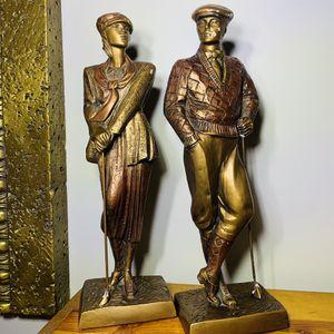 """Vintage Austin Sculpture Art Deco 16"""" Golfer Man Women Birdie 1989 Bronze Signed for Sale in Orange Park, FL"""