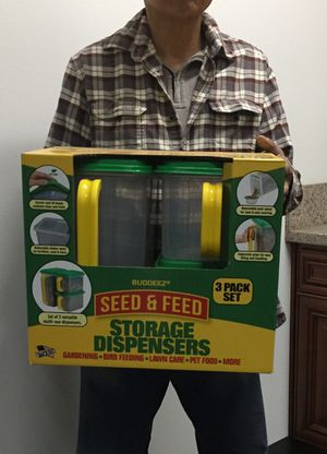 Brand new 3pc Seed & Feed storage dispenser box bin gardening bird feed pet food container for Sale in Pico Rivera, CA