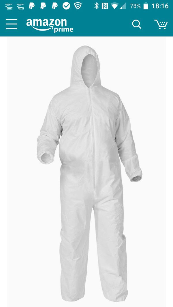 25 Quality Body Protective, hooded paint suit, large