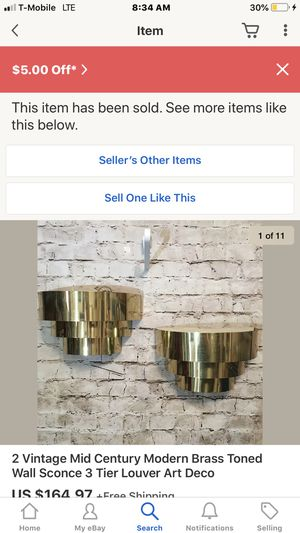 Vintage mid century modern brass Art Deco wall sconces lamps for Sale in Dana Point, CA