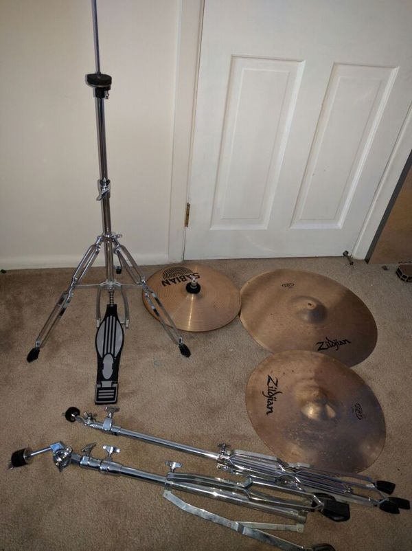 Zildjian and sabian drum cymbals with stands
