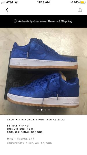 """CLOT X Air Force 1 PRM """"Royal Silk"""" for Sale in Henderson, NV"""